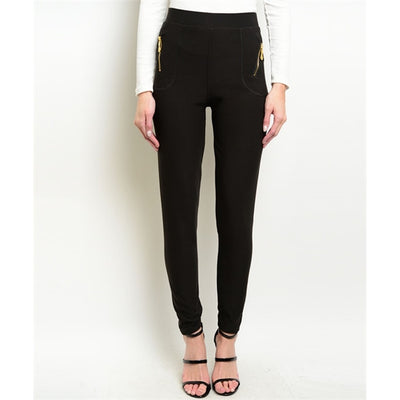 Women's Skinny Pants Black Zippered - Alluforu