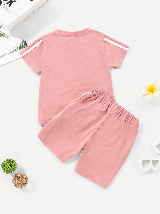 Toddler Girls Contrast Tape Tee With Shorts - Alluforu