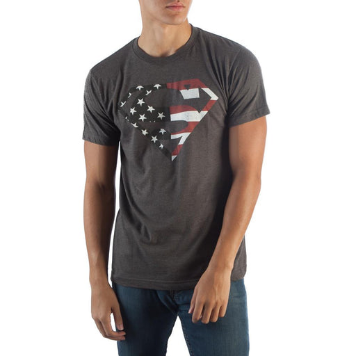 Superman Americana Grey Logo T-Shirt - Alluforu