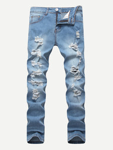 Men Solid Destroyed Jeans