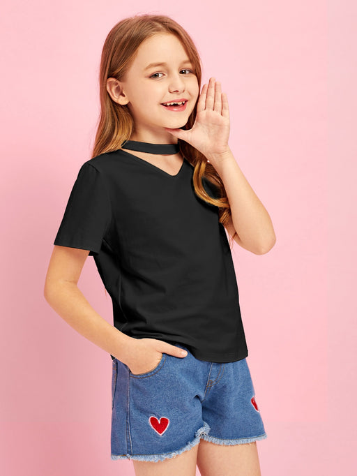 Girls V-Cut Neck Solid Tee - Alluforu