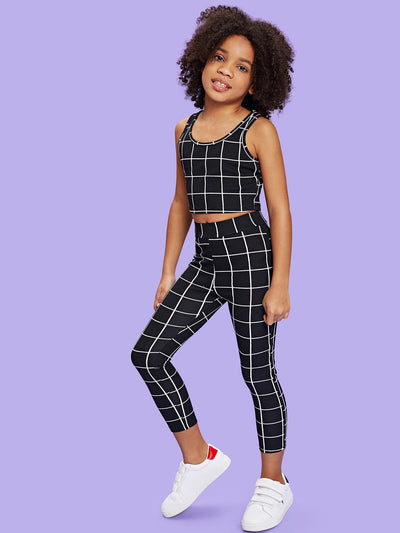 Girls Grid Tank Top & Pants Set