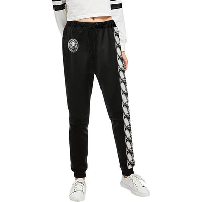Long Chain Womens Black Track Pants - Alluforu