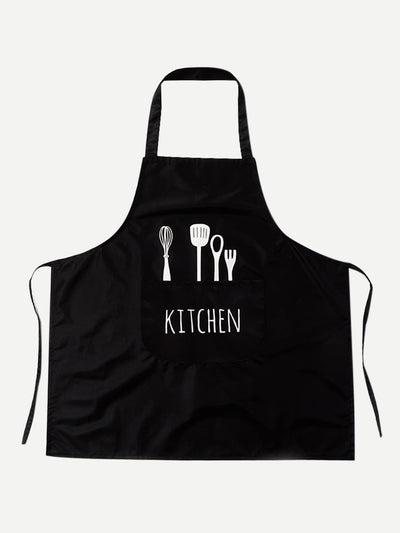 Shovel Print Apron With Pocket - Alluforu