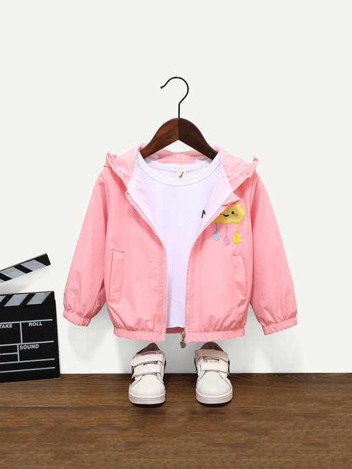 Toddler Girls Embroidery Detail Cloud Pattern Hooded Jacket - Alluforu