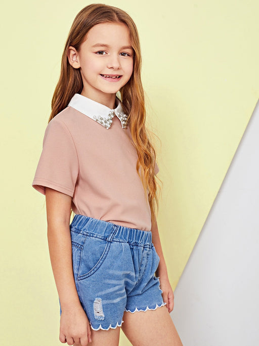 Girls Contrast Beaded Collar Blouse - Alluforu