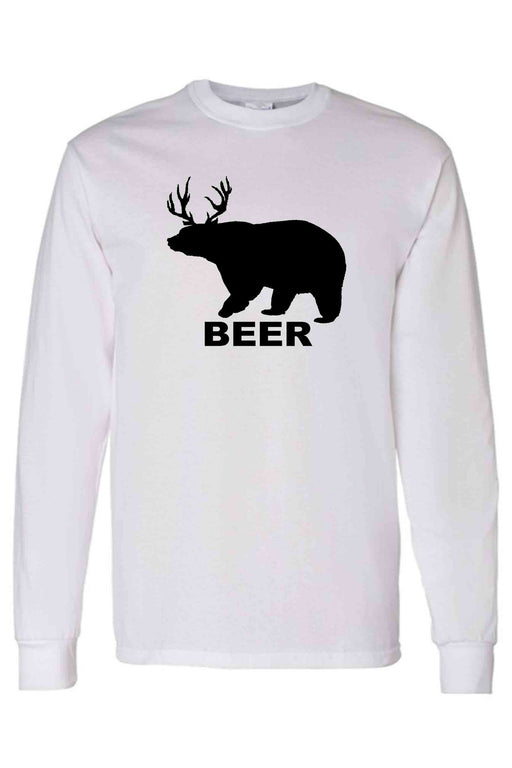 Men's/Unisex Funny Bear? Deer? BEER! Long Sleeve Shirt - Alluforu