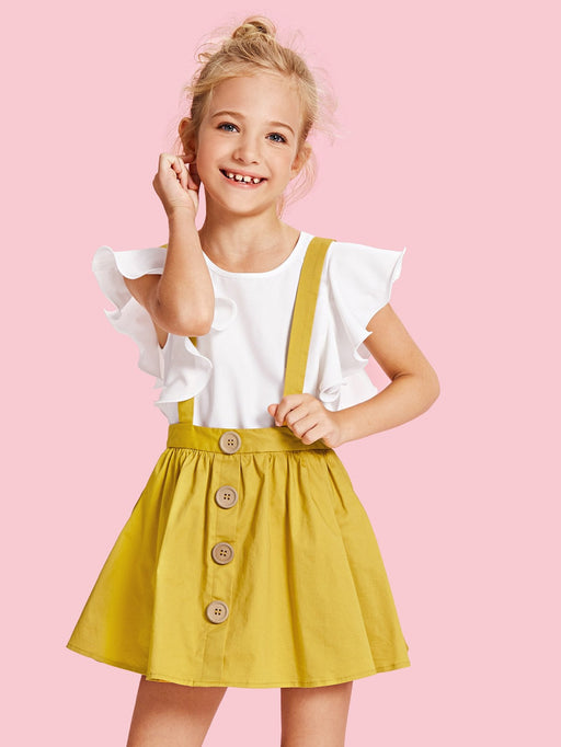 Girls Solid Ruffle Trim Blouse - Alluforu