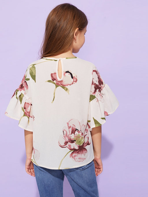 Girls Flounce Sleeve Flower Top - Alluforu