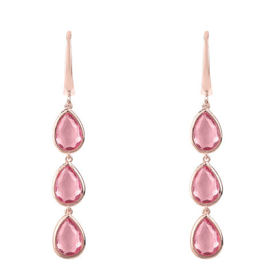 Sorrento Triple Drop Earring Rosegold Pink Tourmaline - Alluforu