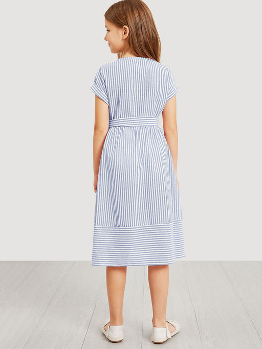 Girls Waist Belted Single Breasted Striped Dress - Alluforu