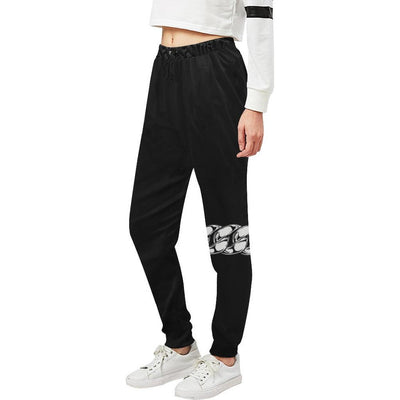 Women's Black Chain Knee Track Pants - Alluforu