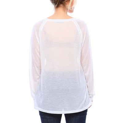 Semi-Sheer Ultra Light Weight Ragland Sheer Tee with Long Sleeves in White - Alluforu