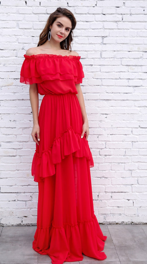 Red Maxi Dress - Alluforu