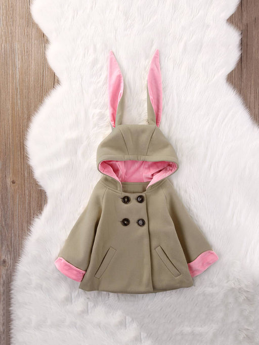 Toddler Girls Rabbit Ears Decoration Pocket Front Hooded Coat - Alluforu
