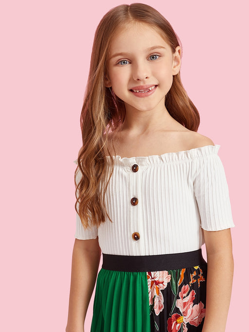 Girls Button Up Frill Rib-Knit Tee - Alluforu