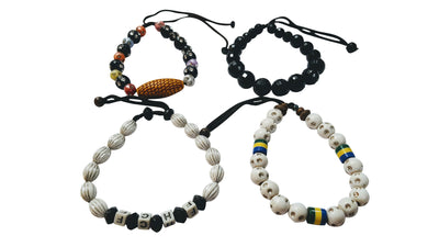 4 Pc Wooden Stackable Ethnic Bracelets