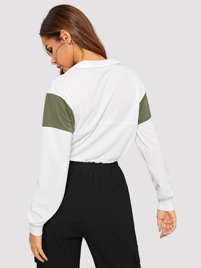 Contrast Panel Zip Drawstring Hem Sweatshirt