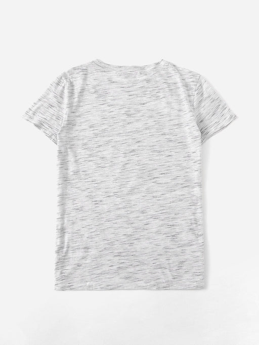 Letter And Cat Print Tee - Alluforu