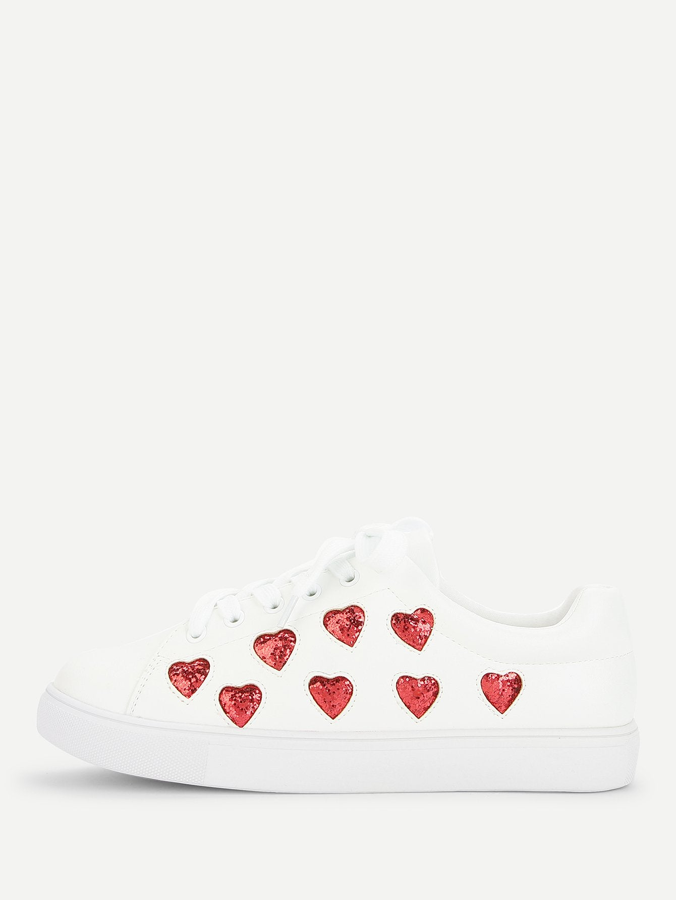 Heart Pattern Lace Up Sneakers - Alluforu
