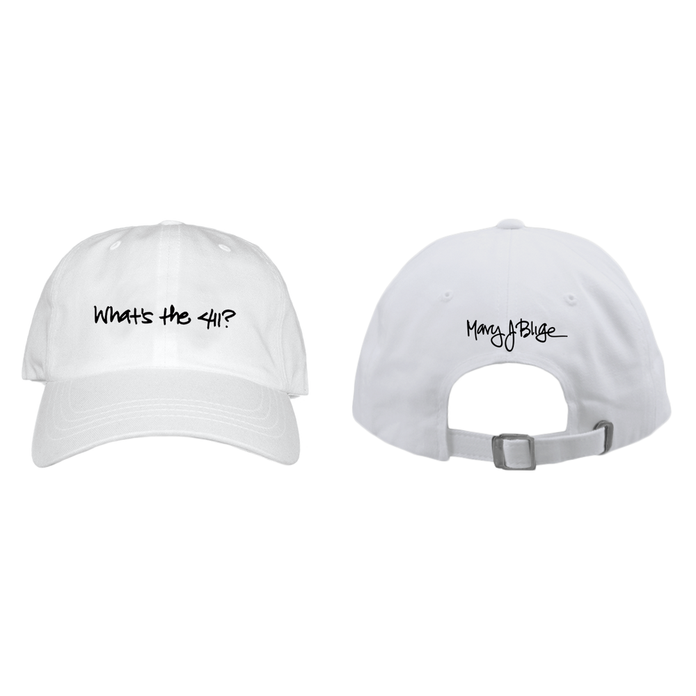 Mary J Blige 411 Logo - White Baseball Hat - Alluforu