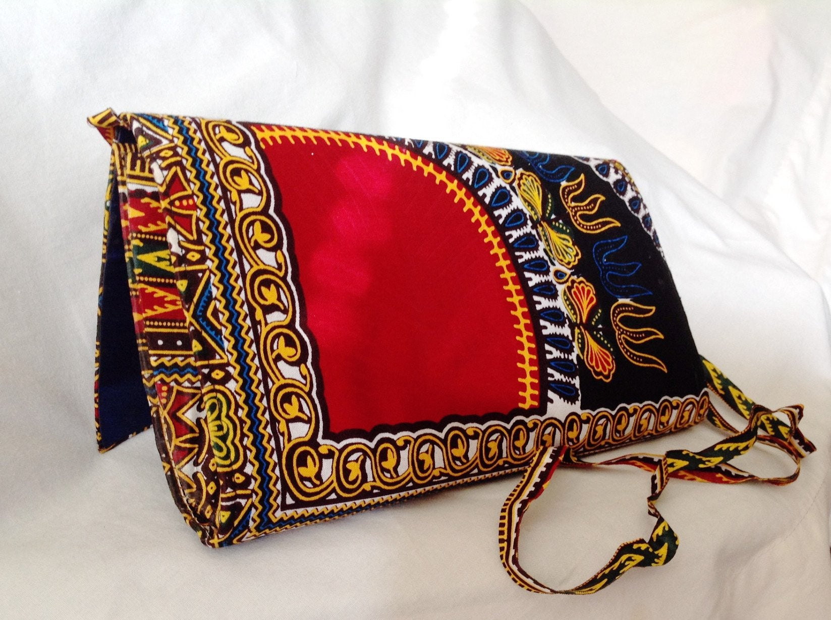 Ankara Print Crossbody Clutch Rightview Backview with Strap