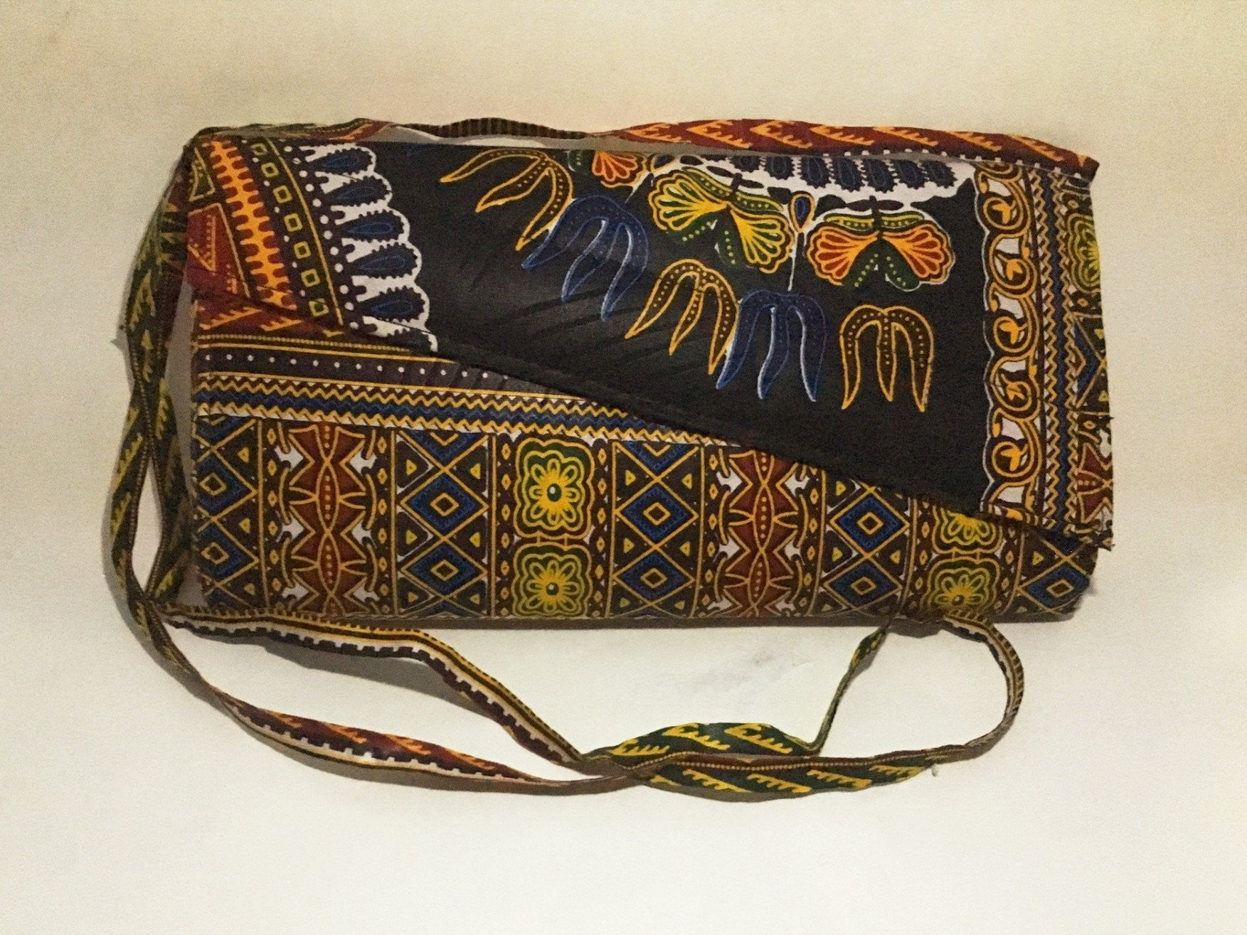 Ankara Print Crossbody Clutch Frontview with strap