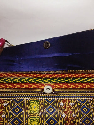 Ankara Print Crossbody Clutch with button view navy blue inside