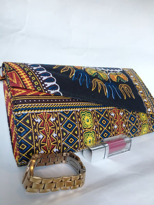 Ankara Print Crossbody Clutch Leftview with watch and gloss for size comparison