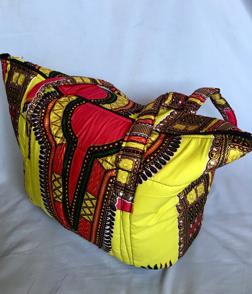 Yellow African Print Large Tote Bag - Alluforu