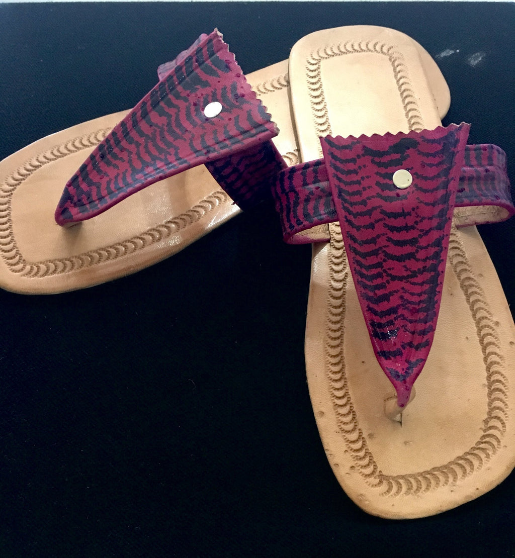 Black & Magenta Leather Sandals with Left over right hele