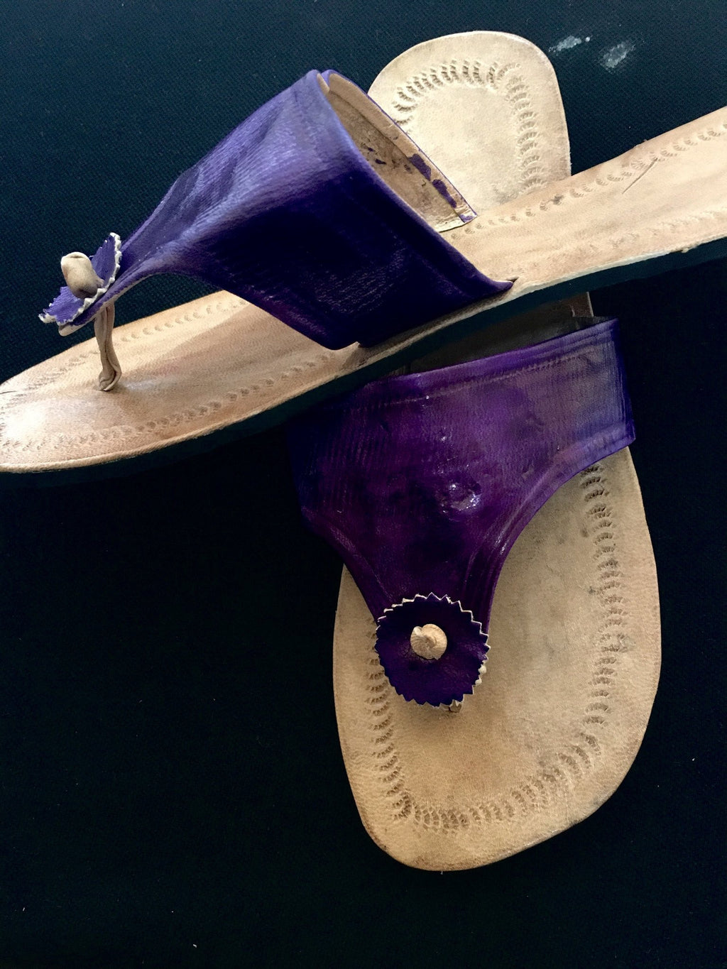 Purple Imprint Leather Sandals
