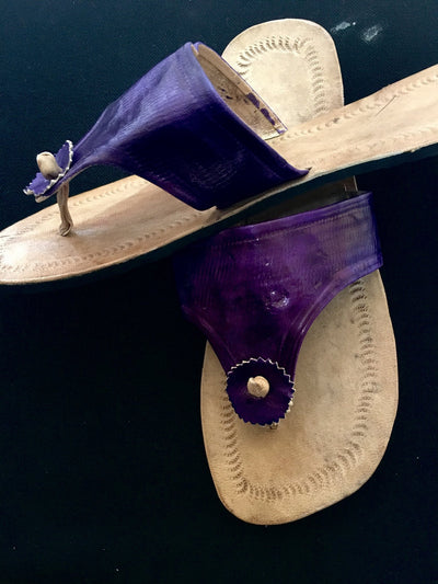 Purple Imprint Leather Sandals - Alluforu