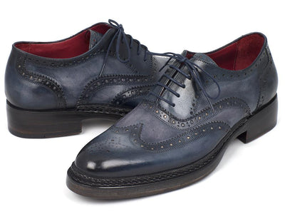 Paul Parkman Men's Triple Leather Sole Wingtip Brogues Blue (ID#027-TRP-BLU) - Alluforu