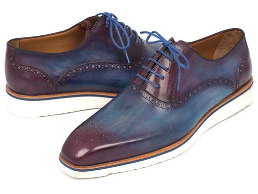 Paul Parkman Smart Casual Oxford Shoes For Men Blue & Purple (ID#184SNK-BLU) - Alluforu