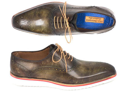 Paul Parkman Smart Casual Oxford Shoes For Men Army Green (ID#184SNK-GRN) - Alluforu