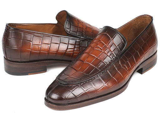 Paul Parkman Brown Burnished Crocodile Embossed Calfskin Loafer (ID#7339-BRW) - Alluforu