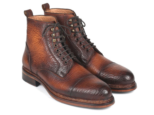 Paul Parkman Antique Burnished Leather Boots Brown (ID#5075-BRW) - Alluforu