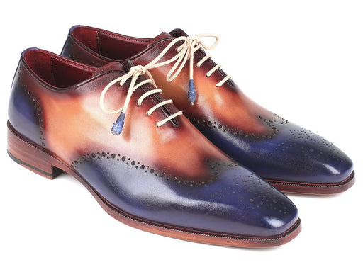 Paul Parkman Blue & Camel Wingtip Oxfords (ID#097BX11) - Alluforu