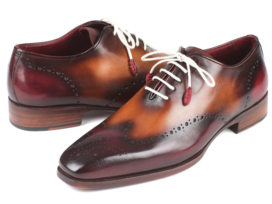 Paul Parkman Bordeaux & Camel Wingtip Oxfords (ID#097BY30) - Alluforu