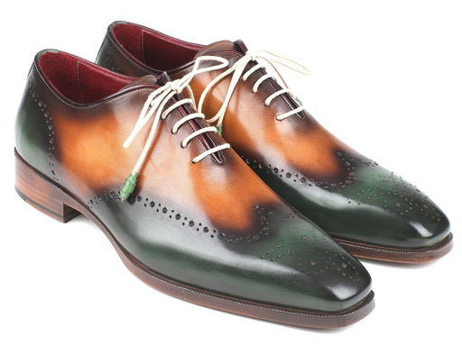 Paul Parkman Green & Camel Wingtip Oxfords (ID#097GV22) - Alluforu