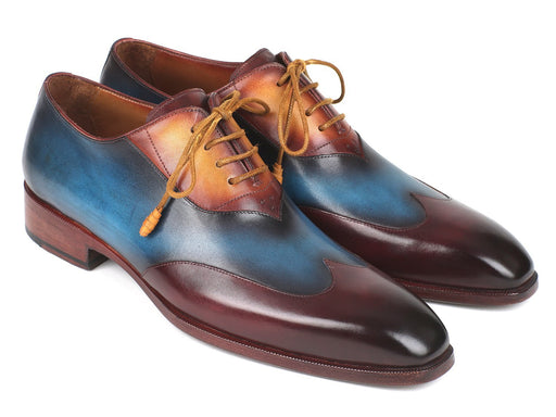 Paul Parkman Three Tone Wingtip Oxfords Bordeaux & Blue & Camel (ID#AL3249TU) - Alluforu