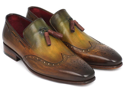 Paul Parkman Men's Wingtip Tassel Loafers Green (ID#WL34-GRN) - Alluforu