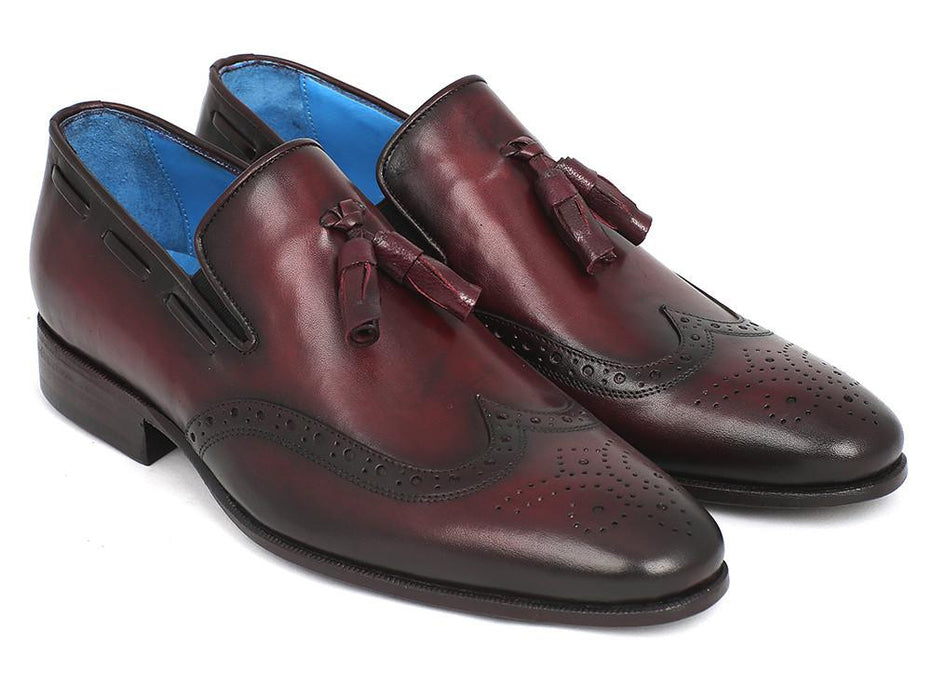Paul Parkman Men's Wingtip Tassel Loafers Bordeaux (ID#WL34-BRD) - Alluforu