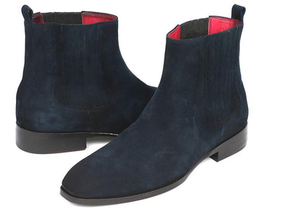 Paul Parkman Navy Suede Chelsea Boots (ID#SD875NVY) - Alluforu