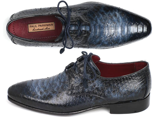 Paul Parkman Navy Genuine Python Ghillie Lacing Dress Shoes (ID#022PYT-NAVY) - Alluforu