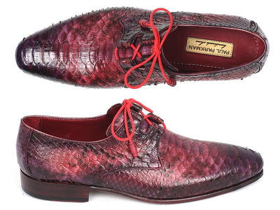 Paul Parkman Lila Genuine Python Ghillie Lacing Dress Shoes (ID#022PYT-LILA) - Alluforu