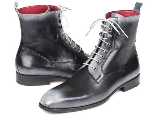 Paul Parkman Men's Gray Burnished Leather Lace-Up Boots (ID#BT535-GRY) - Alluforu