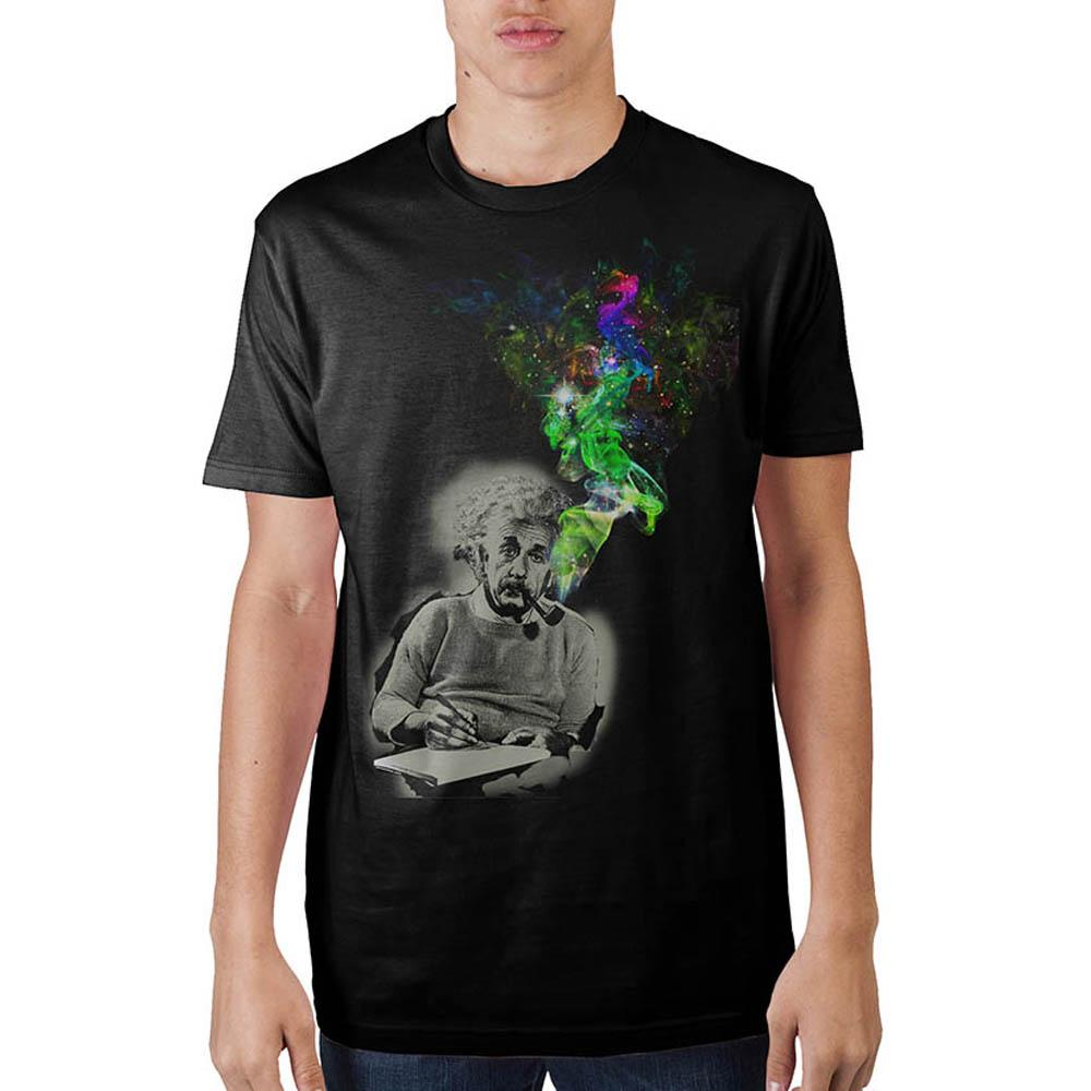 Einstein Smoking Black T-Shirt - Alluforu