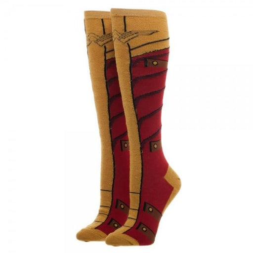 Wonder Woman Knee High Socks With Gold Lurex Yarn - Alluforu
